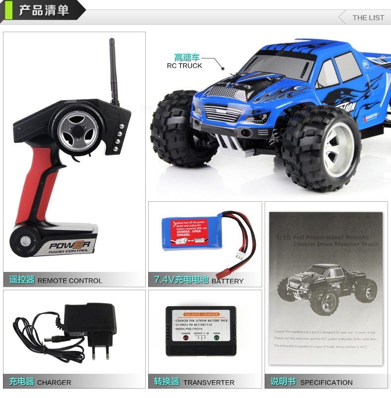 High quality  RC car 2.4G 1:18 RC 4WD SPEED RACER Full Scale Remote Control Car RC Monster Truck with Shock System 50KM/H enlarge