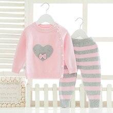 Ensembles de vêtements à manches longues pour bébés filles   Costume chaud et à la mode pour hiver, tissu tricoté en laine, pour bébés garçons et enfants