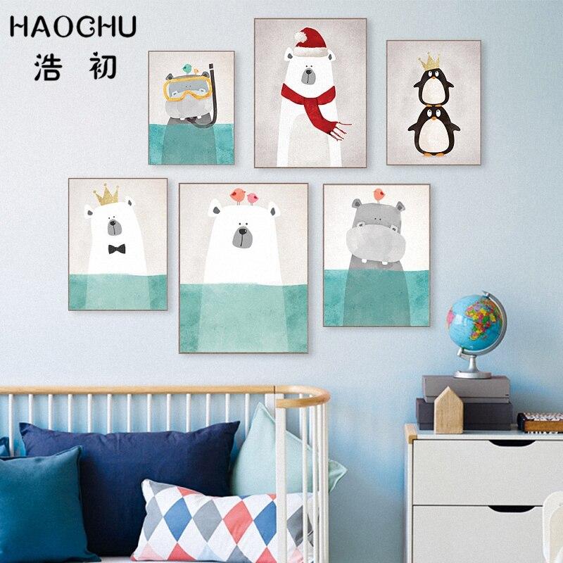 HAOCHU Nordic Kawaii Polar Bear Penguin King Hippo Abstract Animal Painting Art Work Canvas Print Wall Picture Kids Room Decor