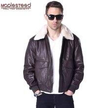 MAPLESTEED chaqueta de vuelo para hombres de cuero genuino para hombres piloto aviador abrigo 100% piel de oveja auténtica Collar de piel marrón negro invierno Parka 176