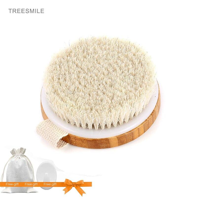 TREESMILE Hot Dry Skin Body Soft natural bristle Body Bamboo Round Massage Bath Brush SPA Body Brush without Handle D40 недорого