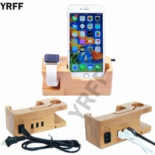 Wood USB Port Phone Charger For Apple Watch For iPhone 6 7 8 X XS Phone Stand Holder For samsung For