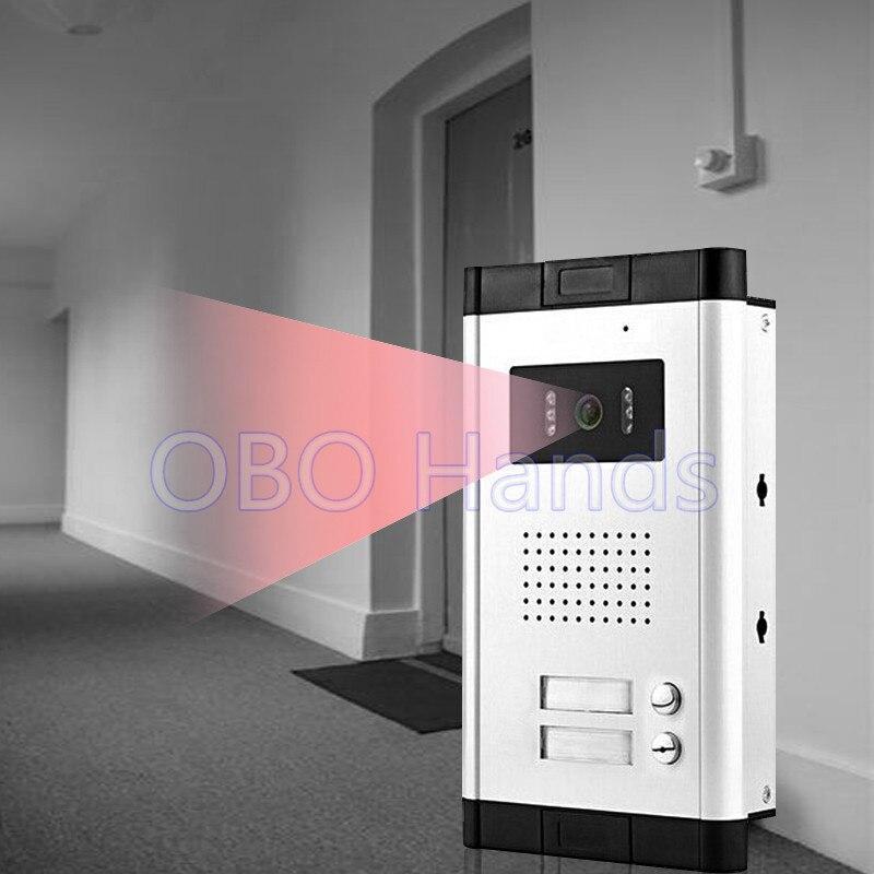 Sistema de intercomunicación a prueba de agua cámara de vídeo para puerta de teléfono al aire libre con dos botones de Control IR visión nocturna para apartamento/2 familias