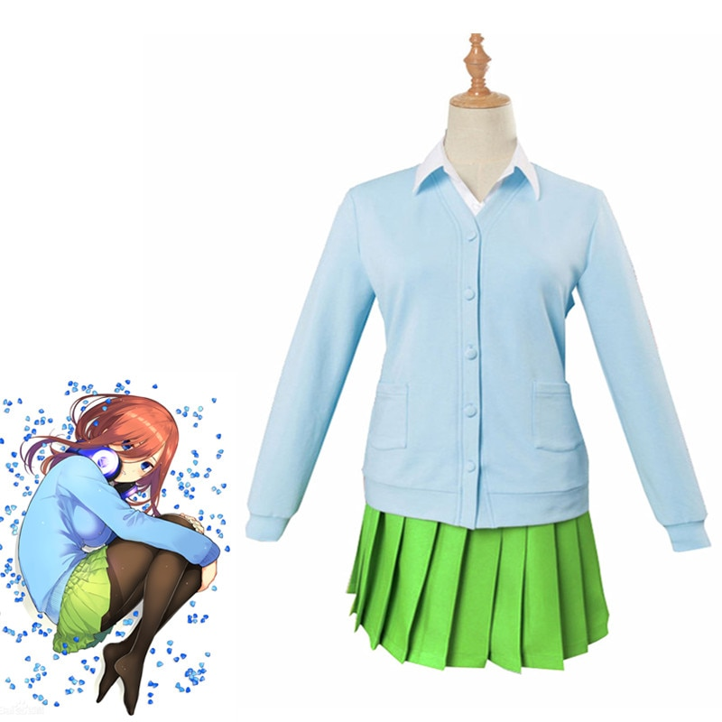 Anime Gotoubun no Hanayome Cosplay Costume Nakano Yotsuba The Quintessential Quintuplets Nakano Yotsuba Uniform Girl Skirt Wig