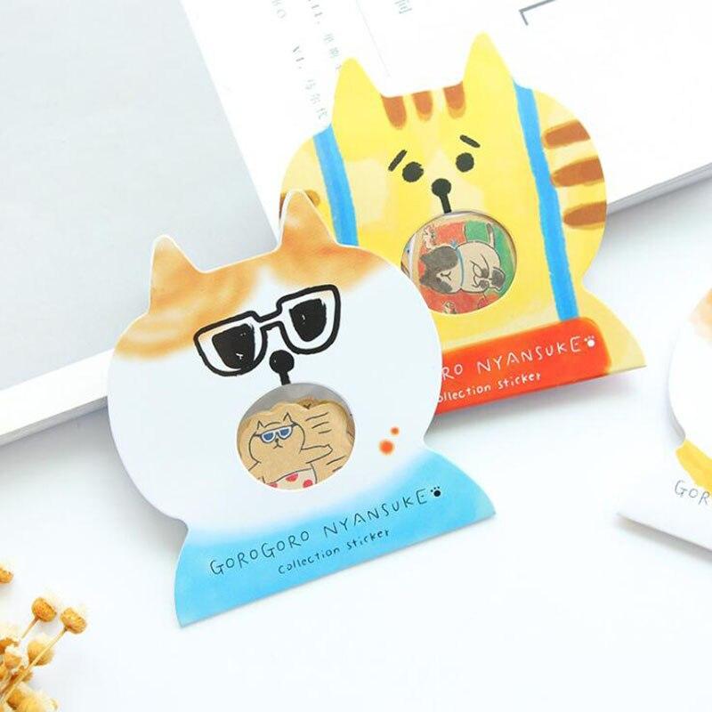Cute Cartoon Cat Transparent PVC Pocket Sticker Pack Children'S Stationery Reward Album Decoration Sticker 30pcs/Package