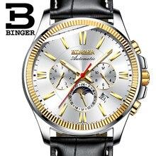 BINGER reloj de los hombres de la marca de lujo mecánico automático de los hombres relojes de pulsera Luna fase relogio relojes para hombre