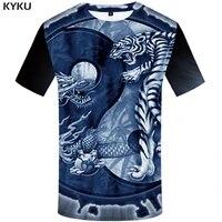 kyku tiger t shirt men animal yin yang tshirt dragon 3d print t shirt anime clothes funny punk rock mens clothing summer tops