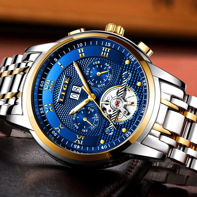 2020LIGE العلامة التجارية التلقائي الميكانيكية الرجال الساعات الرياضية 50 متر مقاوم للماء ساعة ذكر توربيون ساعة معصم موضة Relogio Masculino