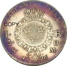 Suecia 1 Riksdaler 3 Daler plateado Gustav III 1776 Latón chapado en plata copia monedas