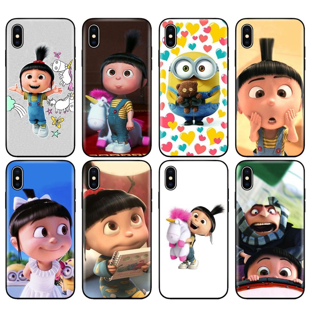 Negro tpu caso para iphone 5 5s SE 2020 6s 6 7 8 plus x 10 cubierta para iphone XR XS 11 pro MAX caso Agnes fluffy unicornio