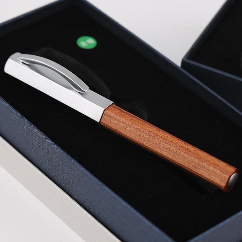 NEW Moonman Delike Hexagonal Rosewood Fountain Pen Iridium EF/F/Small Bent Nib Optional Advanced Office Business Writing Gift