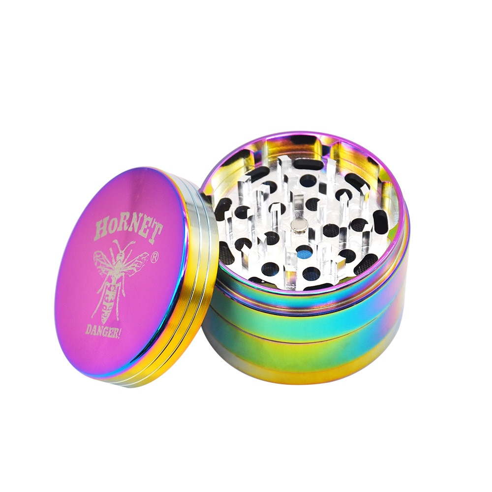 HORNET Tobacco Grinder Rainbow Color Aluminum Smoking Herb Grinder 63MM 4 Layer Spice Sharp Diamond Teeth Crusher Miller