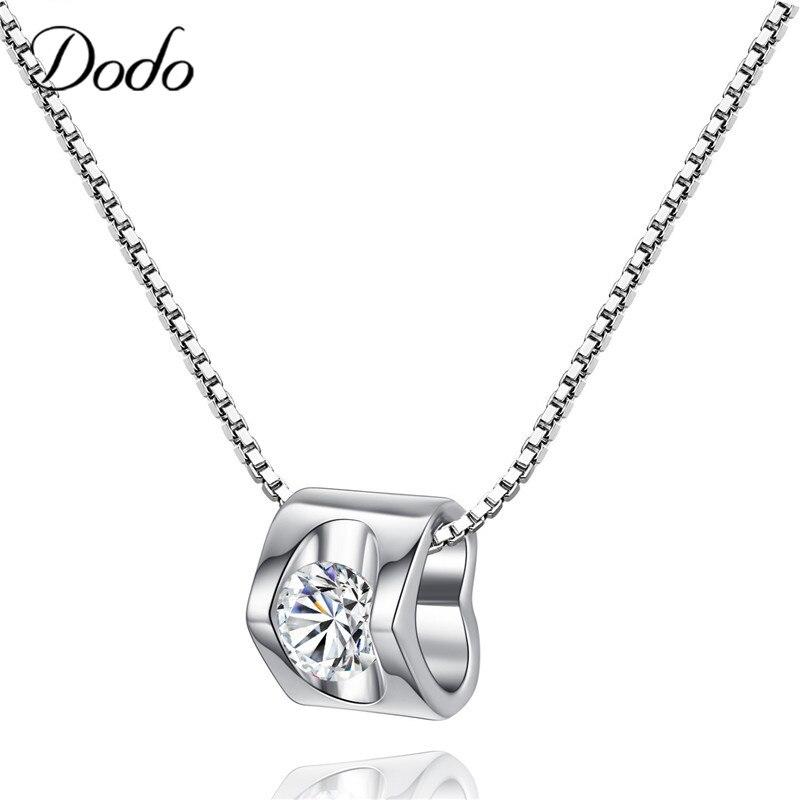 Корейская мода ожерелье в форме сердца с сияющим цирконием серебряного цвета