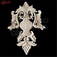 unpainted wood carved corner onlay applique frame wooden carving decal furniture cabinet door frame wall home decoration