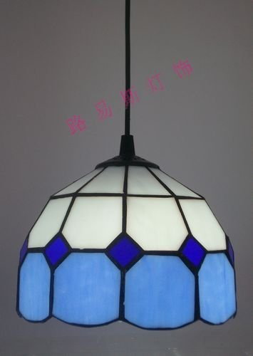 The special blue plaid chandeliers lamps Mediterranean minimalist restaurant lighting glass, Tiffany sink, children's room