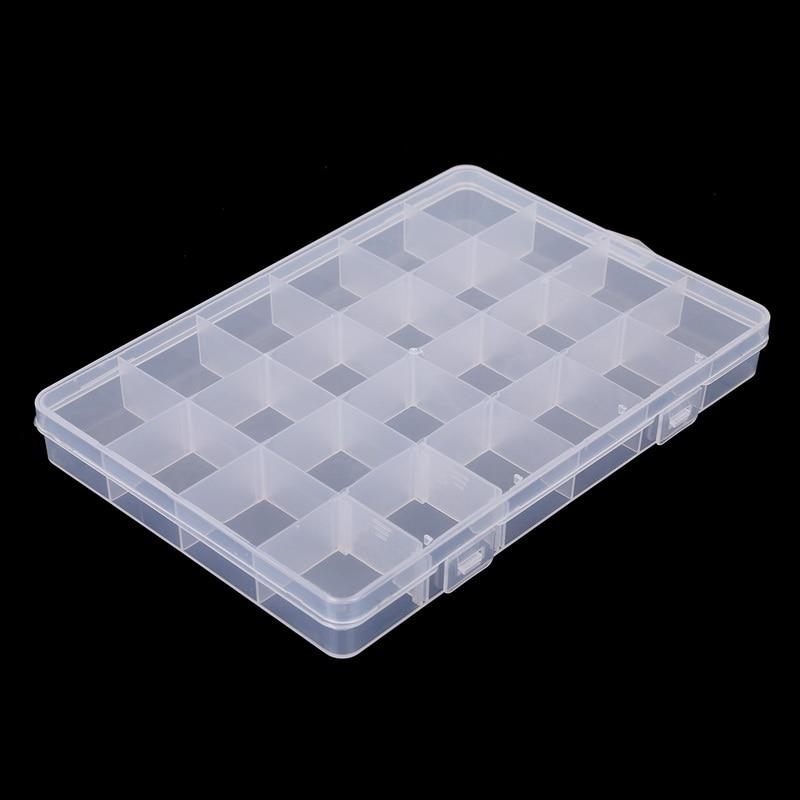 24 ranuras caja de almacenamiento de joyería ajustable caja organizador artesanal cuentas Multi rejillas caja de almacenamiento de plástico transparente portátil