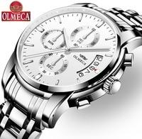 Quartz Watch Luxury OLMECA Relogio Masculino Waterproof Watches Fashion Complete Calendar Wrist Watch for Men Stainless Steel