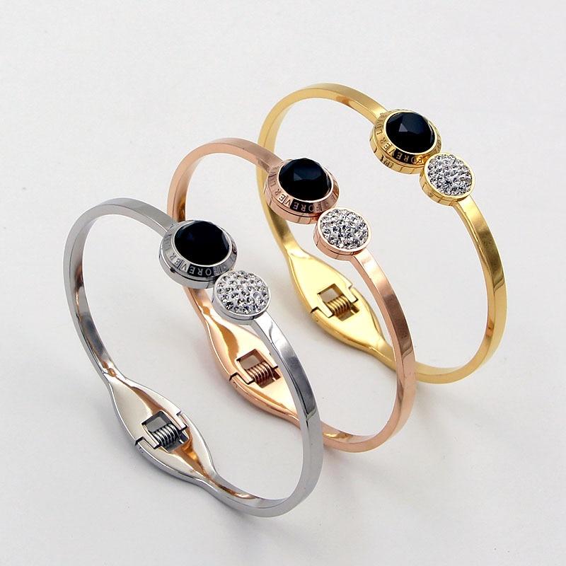 Модный женский весенний браслет на запястье из нержавеющей стали Forever Better с двойными кристаллами цвета розового золота
