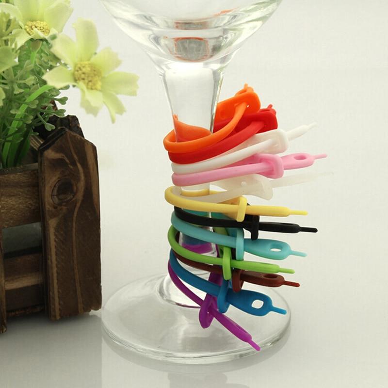 Wcic 12 pçs marca de silicone de grau alimentício tiras longas goblet tag marcadores de vidro para a festa de bar etiquetas de vinho óculos bebendo tag conjunto