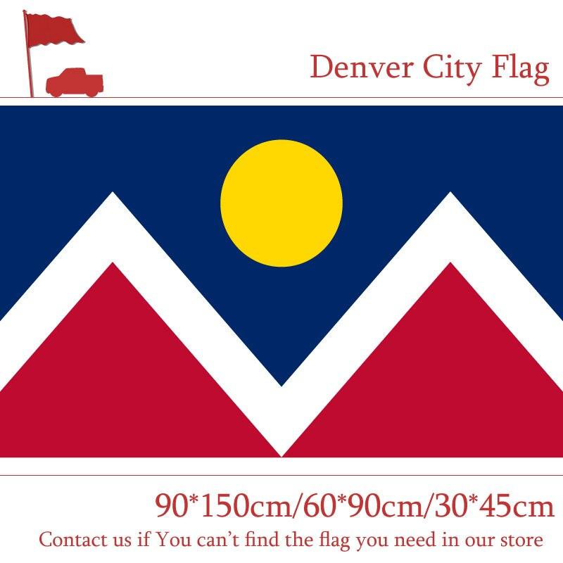 60*90cm 90*150cm bandeira 3x5ft denver cidade bandeira personalizado de alta qualidade 100d poliéster banners para a decoração da campanha