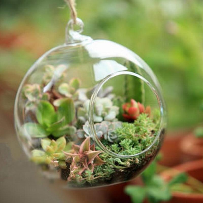 O RoseLif marca pequeña caliente claro globos de cristal con 1 Agujero flor jarrón colgante hidropónico casa Oficina Decoración de la boda