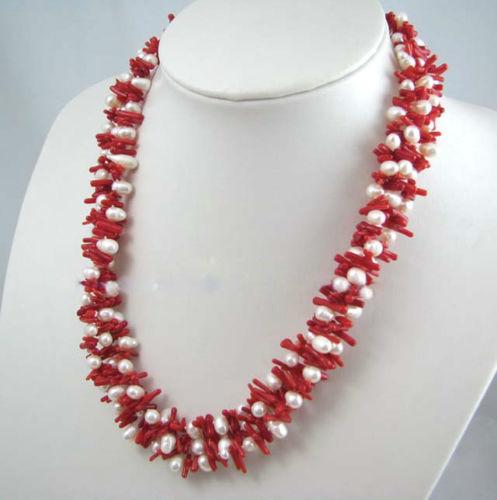 "Huij 001600 3 vertentes red coral vara chip beads mixed pérolas 24 """