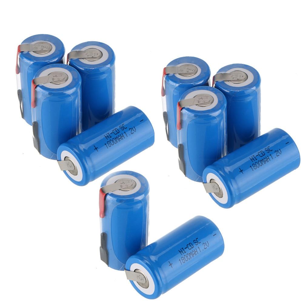 12 teile/los 1,2 V 1800 mAh NI-CD NICD Batterien 22*42mm Sub C SC Akku Mit PCB für Elektronische Werkzeuge