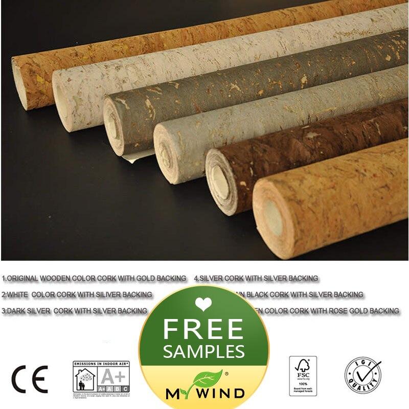 Muestra gratis de papel tapiz de corcho MY WIND de 20x10cm, 100% de lujo, Material Real Natural, papel tapiz 3d de innocuidad de seguridad en rollo para decoración del hogar