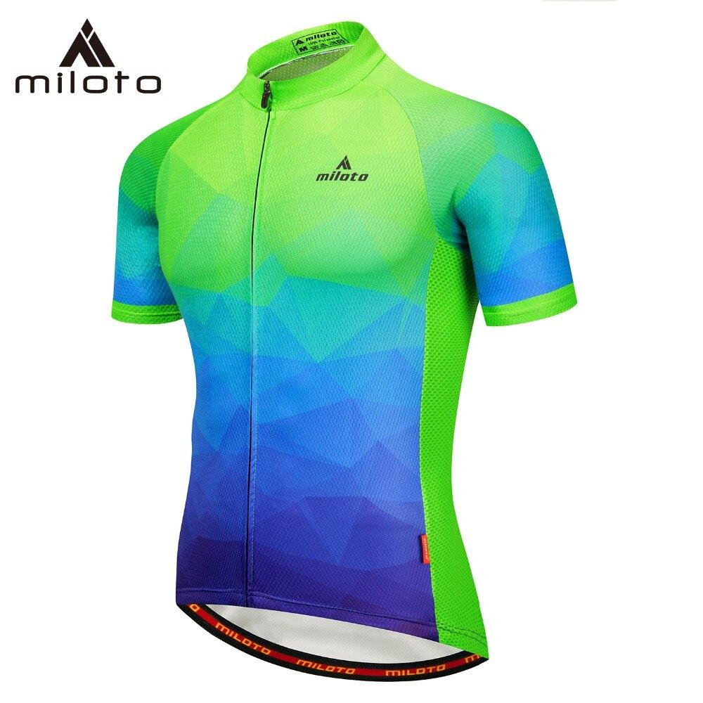 MILOTO cycling jersey pro 100% polyester cycling clothing bicycle wear summer men mtb mountain bike riding cyclist jersey Shirts