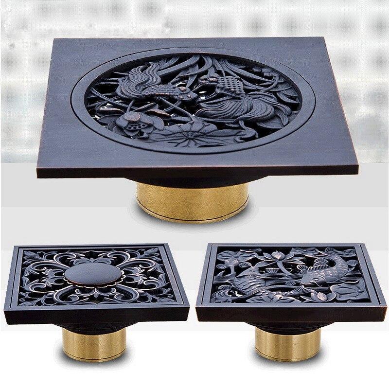 Oil Rubbed Bronze Shower Drain Squar Bath Fish Art Carved Flower Bathroom Floor Waste Grate Shower Drain Drainer KD008