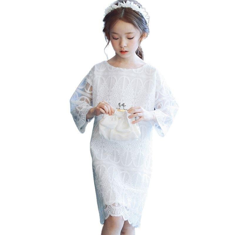 Vestido de encaje de manga larga de verano para niñas vestido de fiesta 3 4 5 6 7 8 9 10 11 12 14 años vestido de princesa para niñas adolescentes ropa