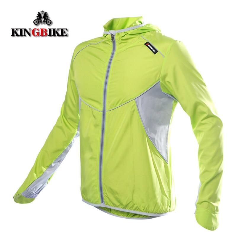 Chaqueta de ciclismo KINGBIKE, Jersey de ciclismo a prueba de viento para hombres y mujeres con capucha, chaqueta de lluvia de manga larga para bicicleta, chaqueta deportiva para exteriores