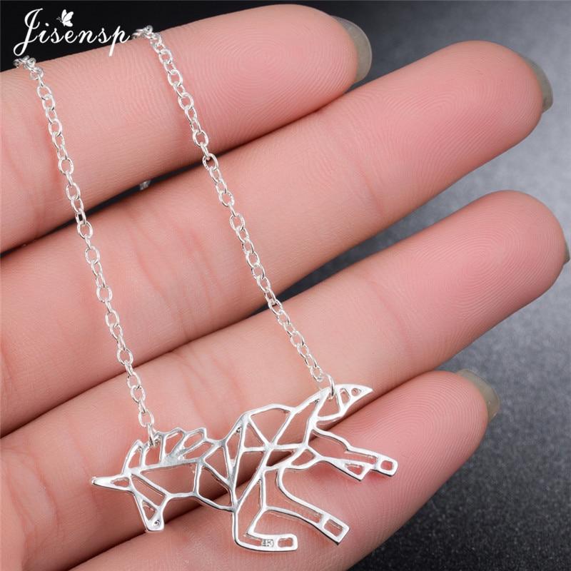 Jisensp étnicos Origami collar con unicornio para la joyería de las mujeres caballo collar de Gargantilla mujeres animales collares y colgantes colares