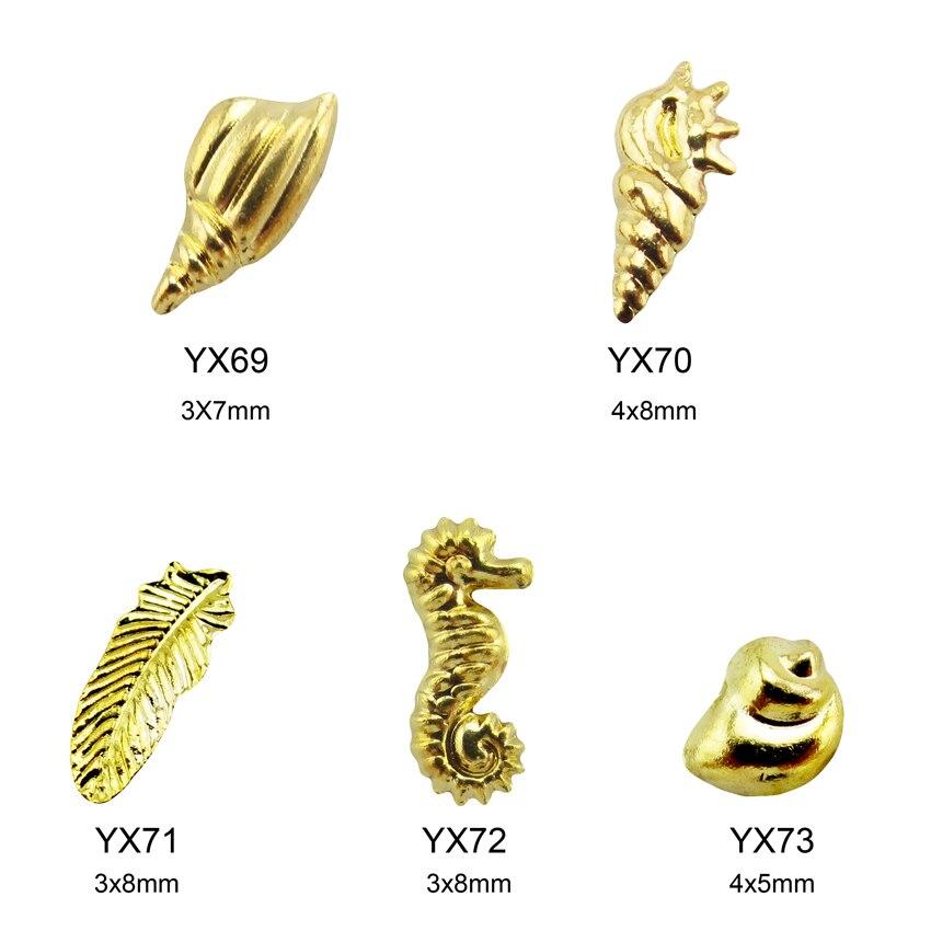 10 pcs rodada 2mm 3d nail art esmagado concha de ouro rebites círculo quadrado studs unhas decorações da estrela acessórios suprimentos YH97-120