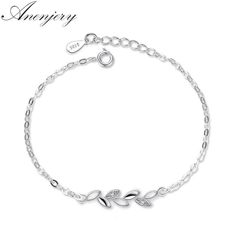 ANENJERY 925 en argent Sterling nouveau Simple mode feuilles Chian Bracelet pour les femmes bijoux pulseira S-B46