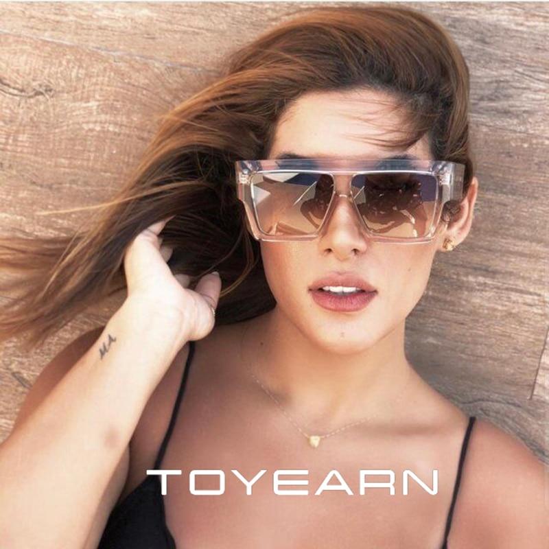TOYEARN New Fashion Brand Designer Oversized Square Sunglasses Women Men Flat Top Big Frame Sun Glas