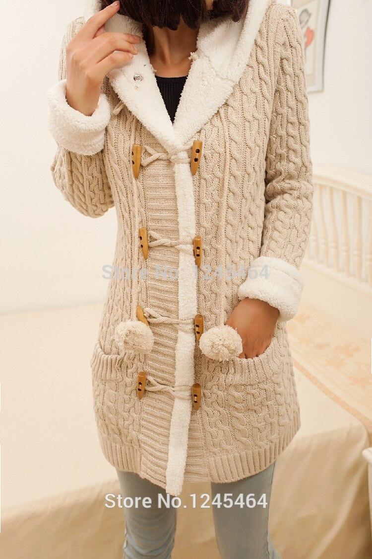 プラスサイズ 2014New 冬カシミヤのセーター厚手の暖かい付きのセーターのコート韓国スリムダブルブレストニットロングカーディガン