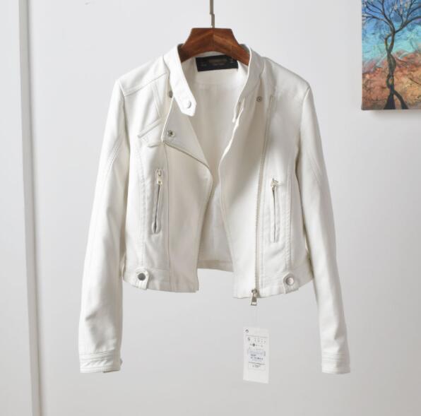 Chaquetas de cuero de marca de moda para mujer remache cremallera motocicleta finas de imitación abrigo de cuero chaqueta femenina solapa PU