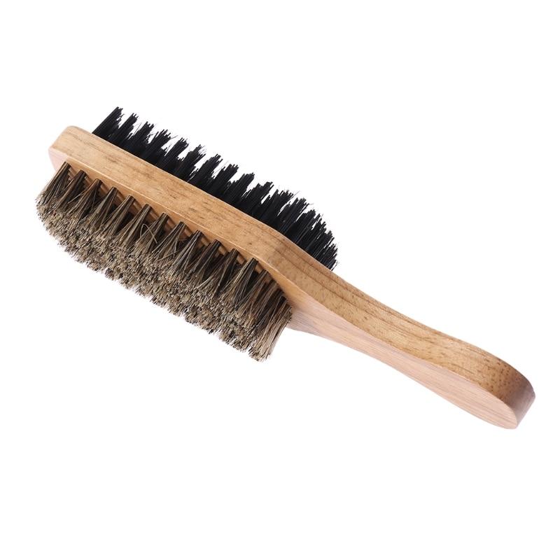 Cepillo de pelo Antiestático de doble cara para hombre, mango de madera, masaje Facial, estilo de barba