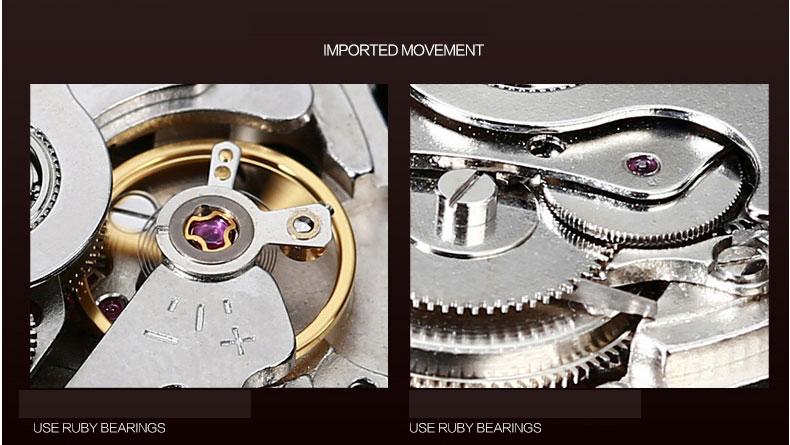 2017 Kinyued Skeleton Tourbillon Zegarek Mechaniczny Automatyczny Mężczyźni Klasyczne Rose Złota Skóra Mechaniczne Zegarki Reloj Hombre 10