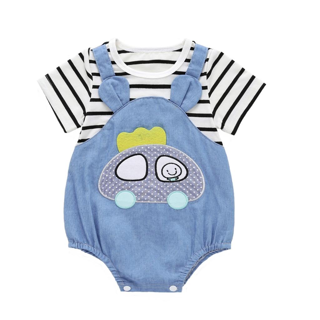 Pelele de bebé para bebés y niños de 2 piezas falsas de dibujos animados de retazos a rayas monos carters bebé niño carters menino # p30US
