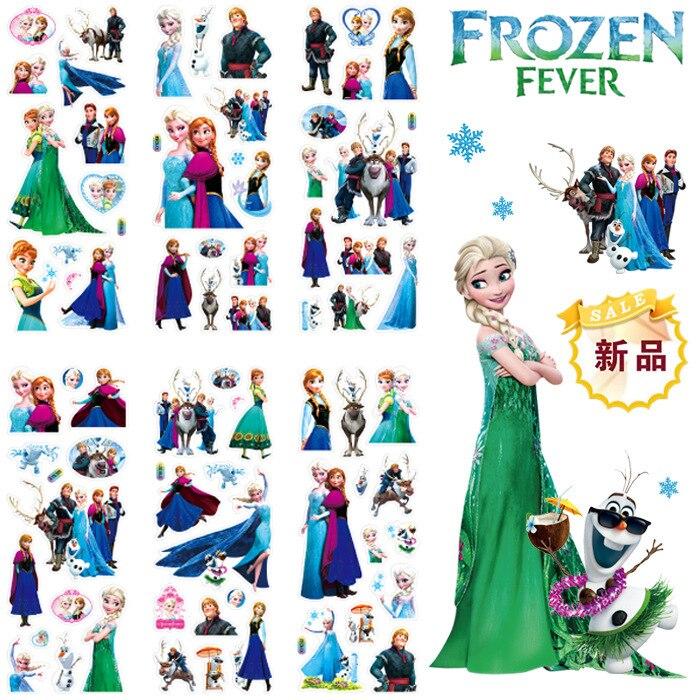 12 Uds Disney Frozen Elsa y Anna princesa scrapbooking para decoración para dormitorio infantil diario cuaderno decoración juguete pegatina 3D