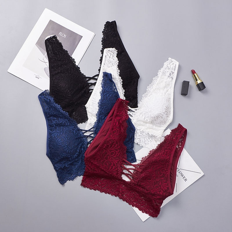 Deep V Lace Bralette Plus Size Bra Women Seamless Padded Push Up Plunge Bra Wire Free Sexy Lingerie Underwear Women