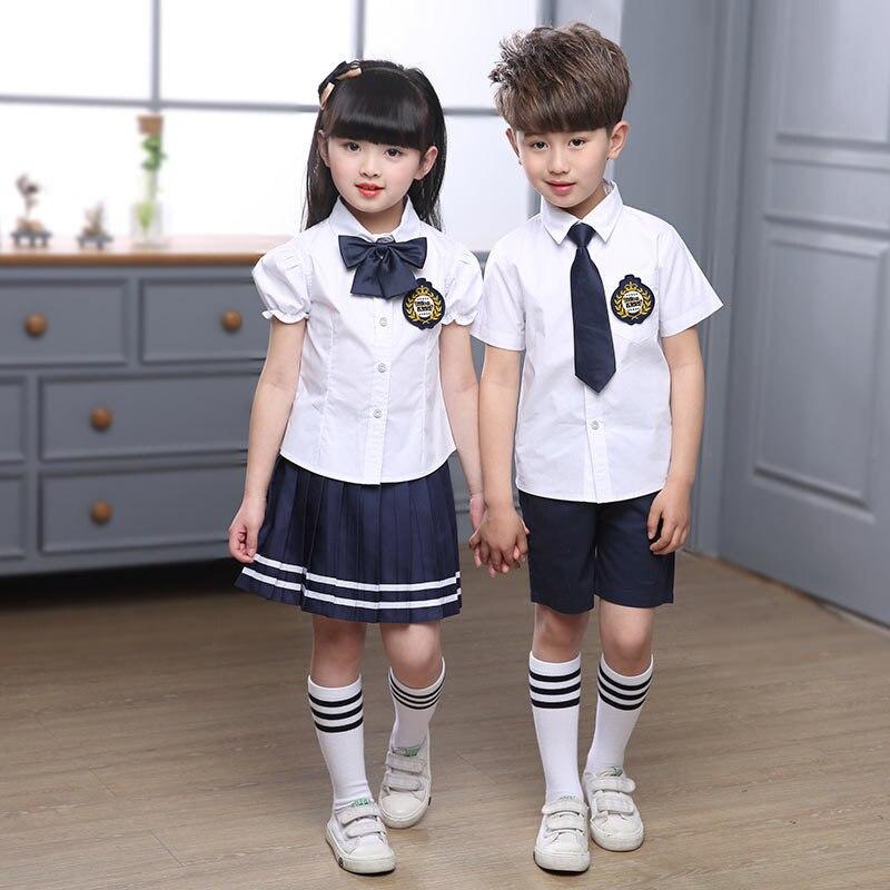 Ropa de jardín de infantes para niños 3 uds. Uniforme de verano de escuela primaria vestido de graduación británico camisa para niñas camisa Falda pantalón D-0525