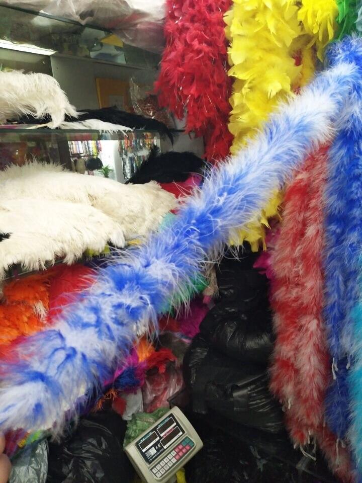 ¡Nuevo producto! 2 m/1 Uds. Boa de plumas de alta calidad (zafiro/blanco)/Fiesta de poda/traje/chal/Boa de plumas de pavo