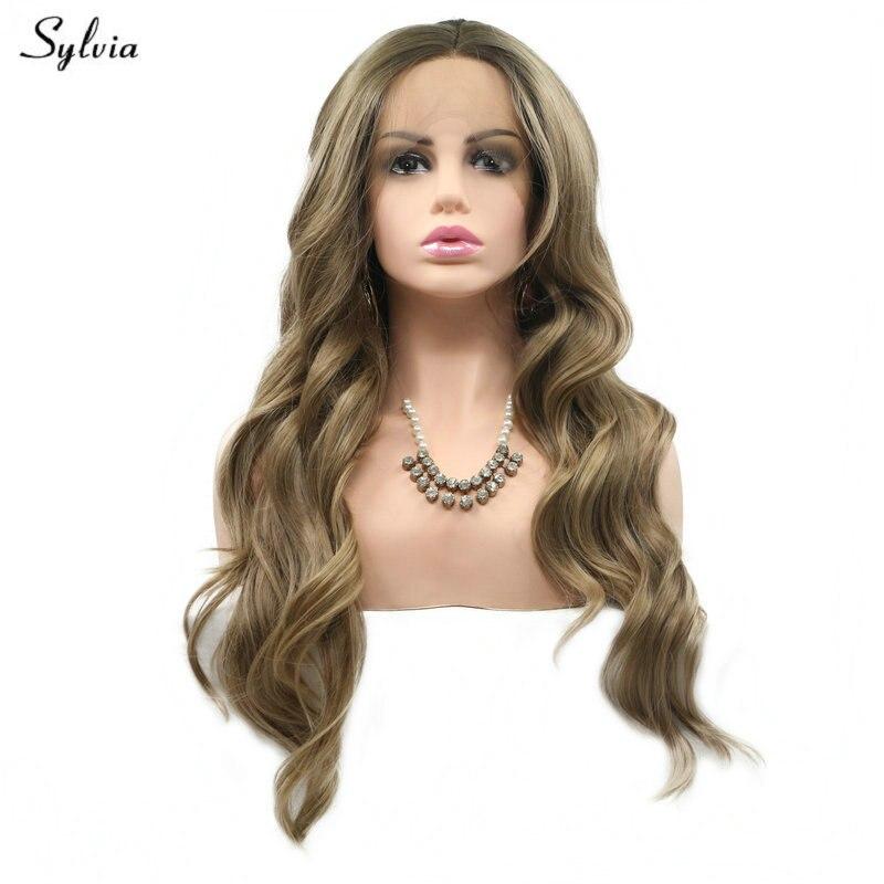 Pelucas frontales de encaje sintético Silvia Drag Queen para mujer, para fiestas, peluca rubia marrón con ondas de cuerpo largo natural