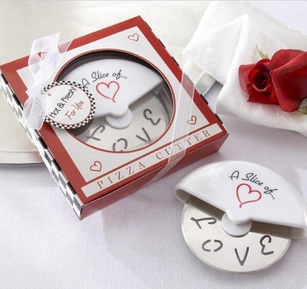 Cortador de Pizza de acero inoxidable 100 rebanada de amor regalos y recuerdos de boda envío gratis