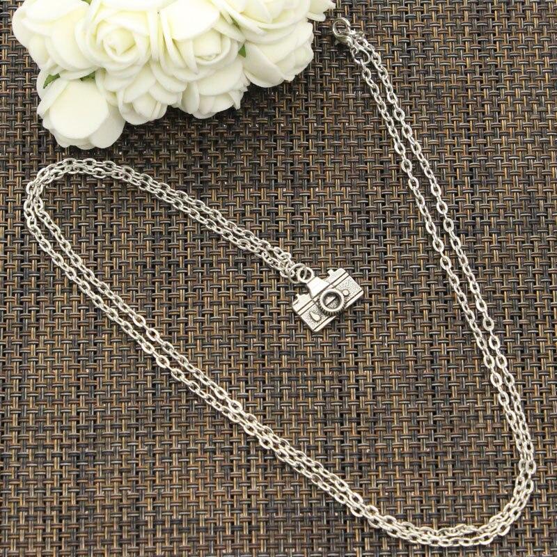 Nuevo collar de moda de la Cámara de 15x14mm colgantes de Color plateado corto largo mujeres hombres collar regalo joyería gargantilla