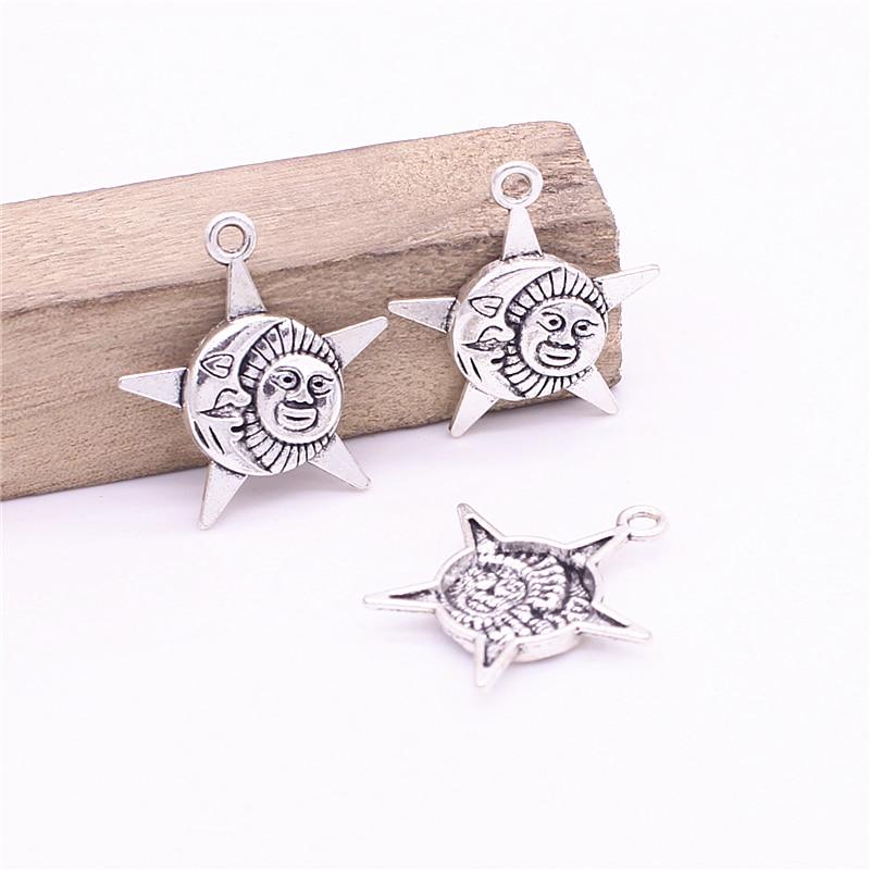 Doce sino 15 peças/lote 25*27mm antigo metal liga quente estrela sol encantos vintage descobertas d1216