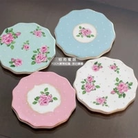recommendation shopkeeper rustic ceramic rose coasters cute placemats heat insulation pads cup pads 4 pieceslot free shipping